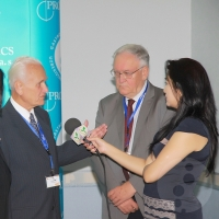 The symposium was preceded by a press conference with the presence of representatives of the Uzbek press and TV (in the photograph – an interview with Assoc. Prof. Jan Kotrlík, MD, Ph.D., and Prof. Petr Dítě, MD, D.Sc.).
